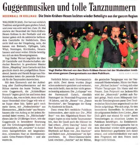 Pressebericht des Elztäler Wochenberichts vom 15.02.2010