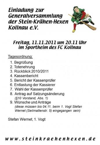 Einladung zur Generalversammlung 2011