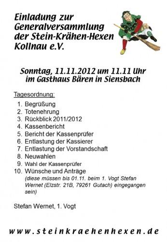 Einladung zur Generalversammlung 2012