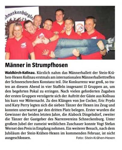 Artikel zur Teilnahme beim 8. internationales Männerballetttreffen in Konstanz (erschienen im Elztäler Wochenbericht am 28.03.2013)