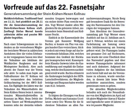 Pressebericht des Elztäler Wochenberichts vom 14.11.2013