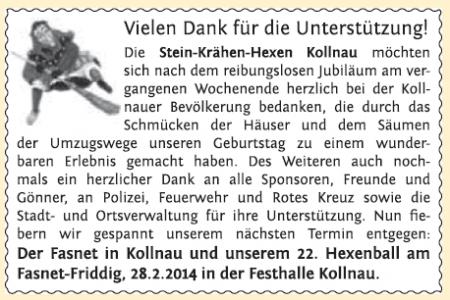 Danksagung, erschienen im Elztäler Wochenbericht am 20.02.2014