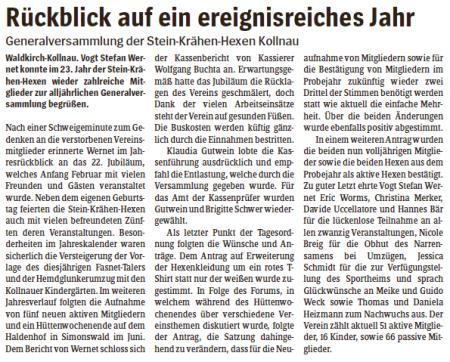 Pressebericht des Elztäler Wochenberichts vom 04.12.2014