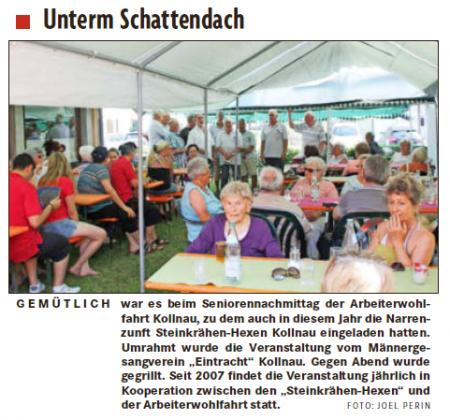 Zeitungsbericht zum Seniorennachmittag vom 15.07.2015 aus der Badischen Zeitung