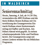 Vorbericht zum Seniorennachmittag vom 04.07.2015 aus der Badischen Zeitung