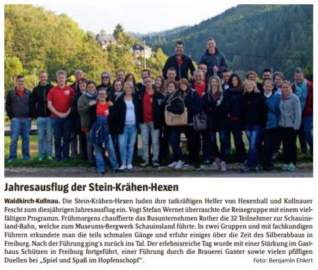 Pressebericht des Elztäler Wochenberichts zum Jahresausflug 2015